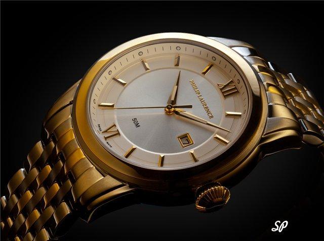 Классические золотые мужские часы Philip Laurence