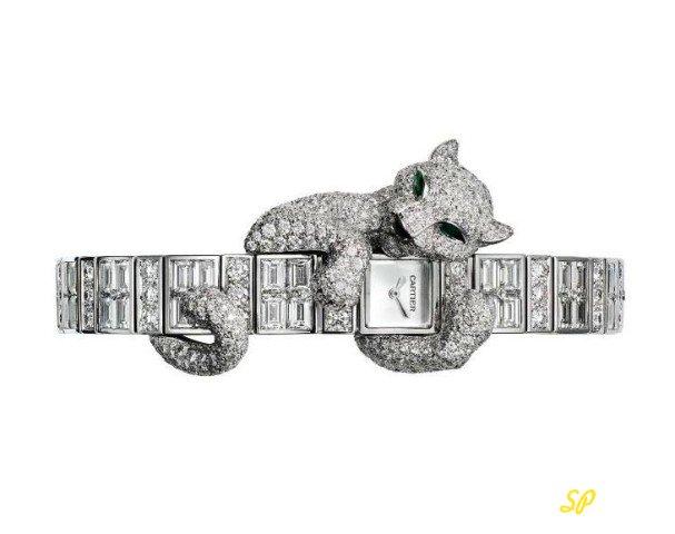 белое золото, часы, бриллианты, дизайнерские часы, часы с пантерой, женский эксклюзивные часы