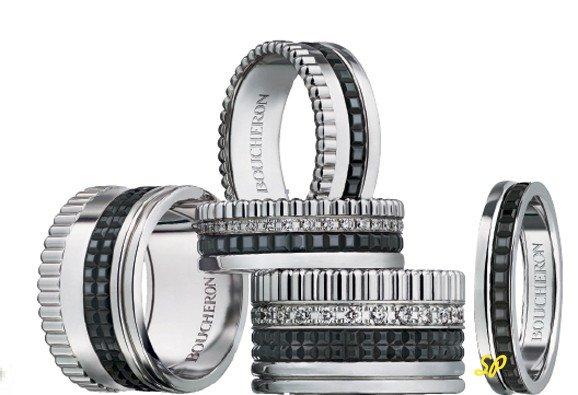 черное золото, кольца, белое золото, набор колец, ювелирные украшения из белого золота
