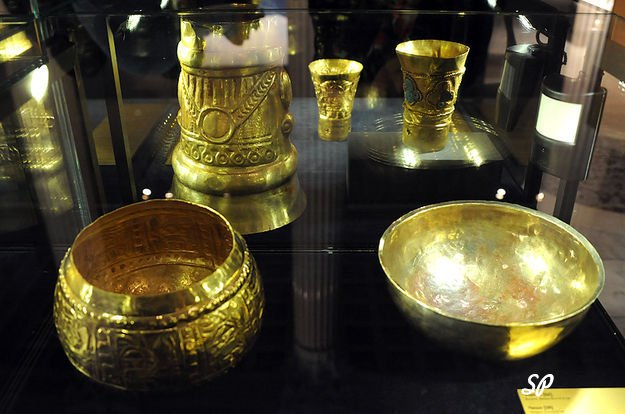 золотые кубки, миски расположенные под стеклянной витриной