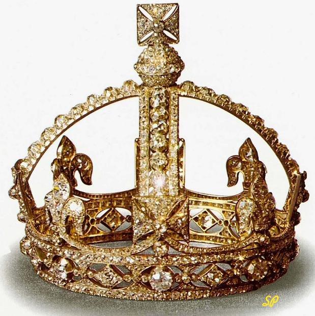 Золотая корона на белом фоне, украшенная многочисленными бриллиантами