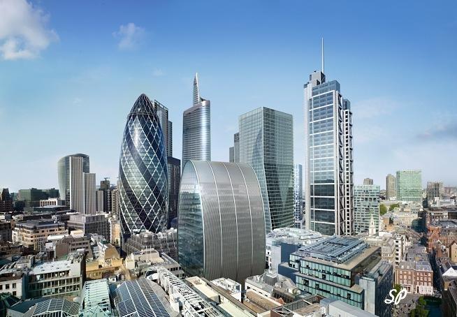 Вид сверху на лондонский район Сити, британский финансовый центр