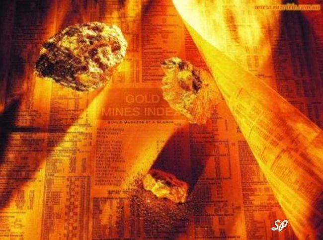 Самородки драгоценных металлов, падающие вниз