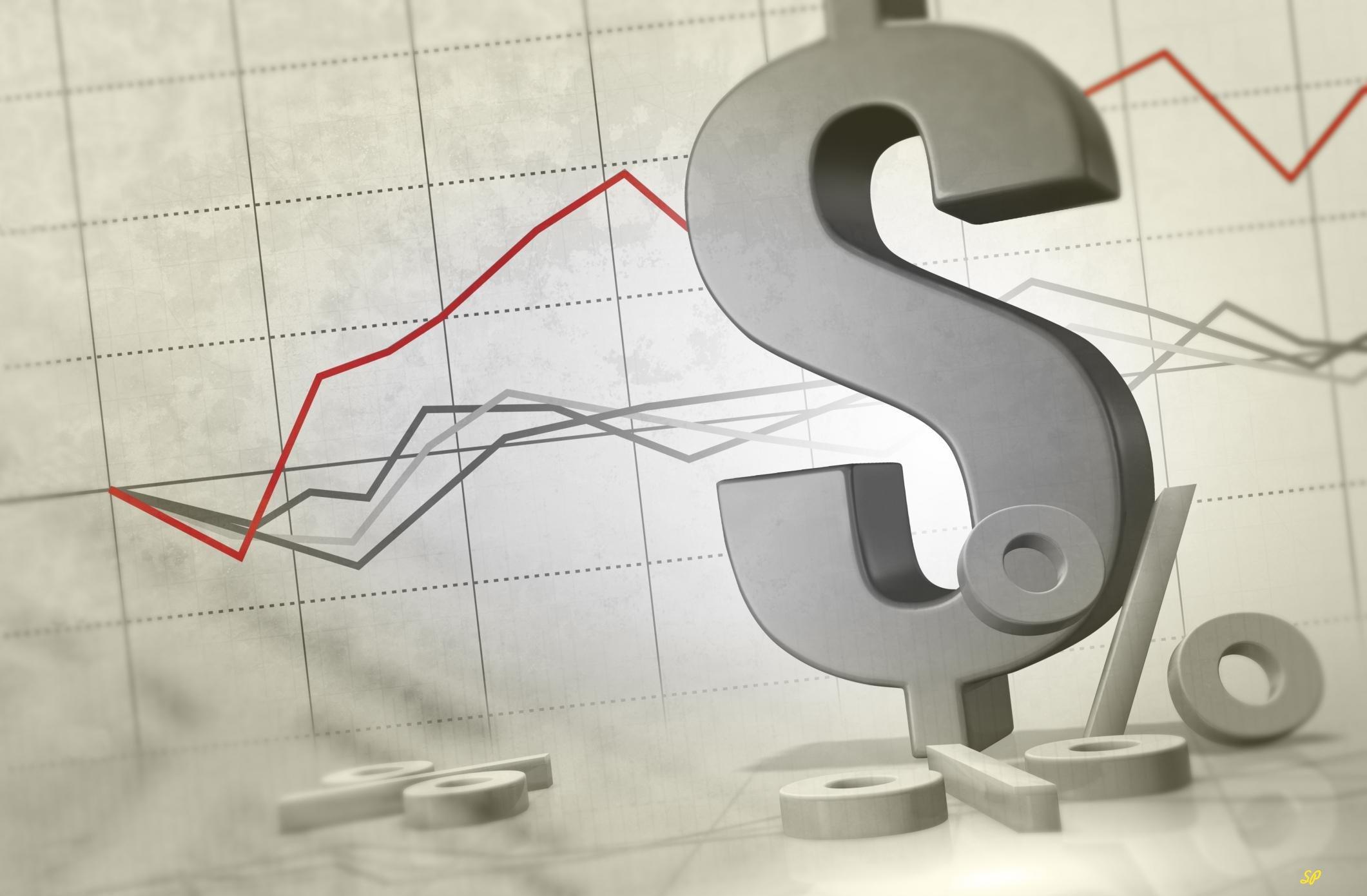 Значки доллара США и процента на фоне графика