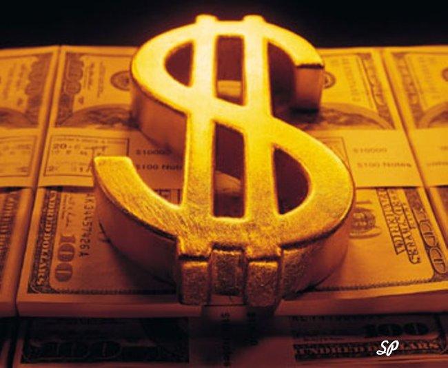 Значок доллара на фоне купюр