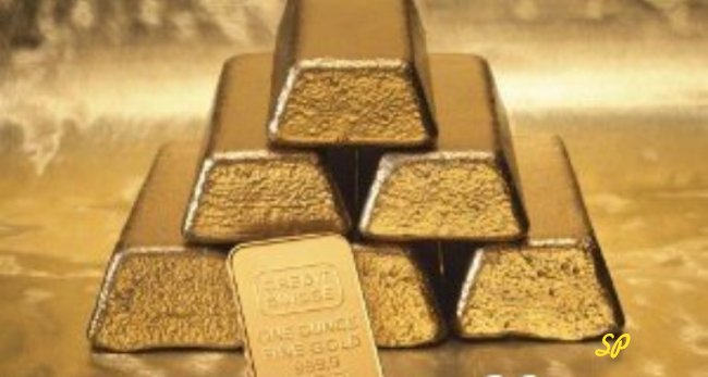 Стопка золотых слитков