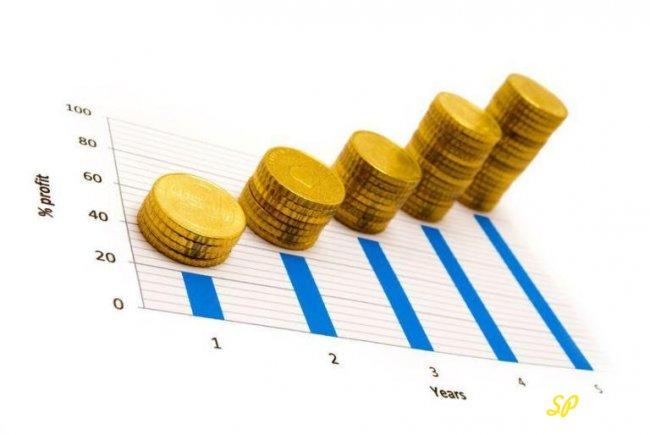 Стопки золотых монет-график