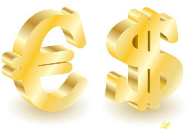 Золотые значки доллара и евро