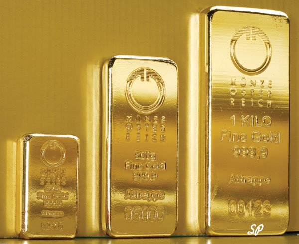 Слитки золота по возрастанию