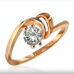 Кольцо из красного золота с фианитом стоимостью 9 681 рубль