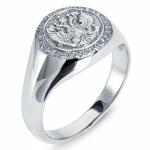 Мужское кольцо из платины с бриллиантами, цена 77 103 руб