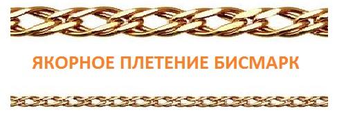 Якорное плетение бисмарк золотой цепочки