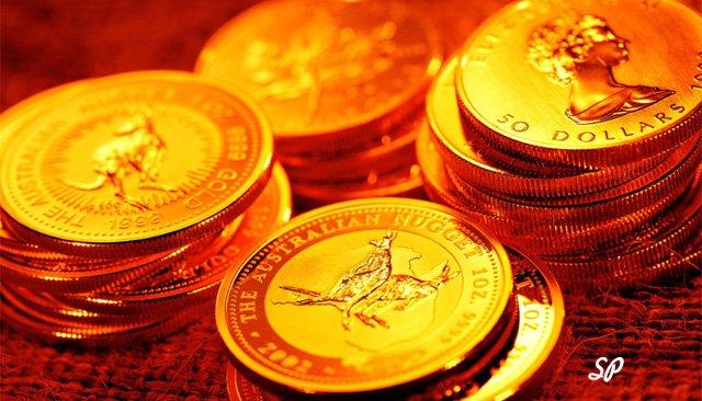 монеты, золото, стопки золотых монет