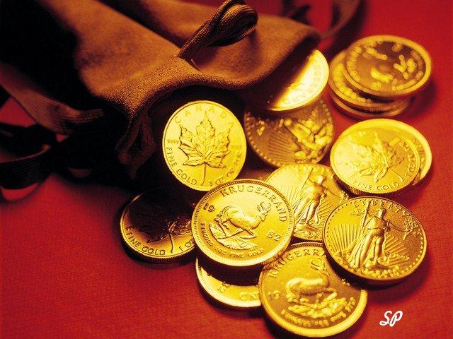 монеты, золото, мешок, монеты в мешке, золотые монеты