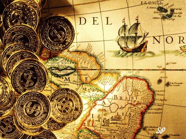 золотые монеты, старая карта мира, карта мира, монеты, золото