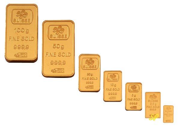 золотые мерные слитки