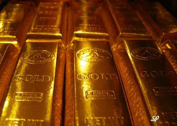 шанхайские золотоые слитки, расположенные в ряд