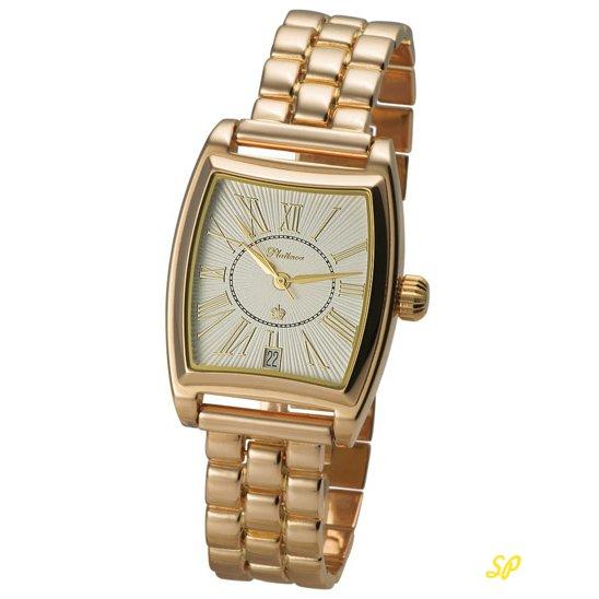 Золотые мужские часы округлой, продолговатой формы с золотым браслетом, циферблатом с римскими цифрами и стрелками из золота браслетом