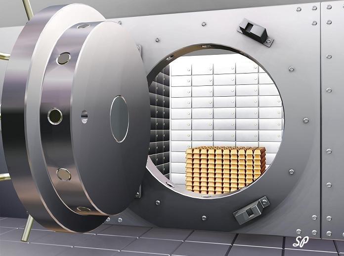 комната-сейф в банке с большой, открытой круглой дверью, за которой видны ячейки в стене и сложенные друг на друга золотые слитки