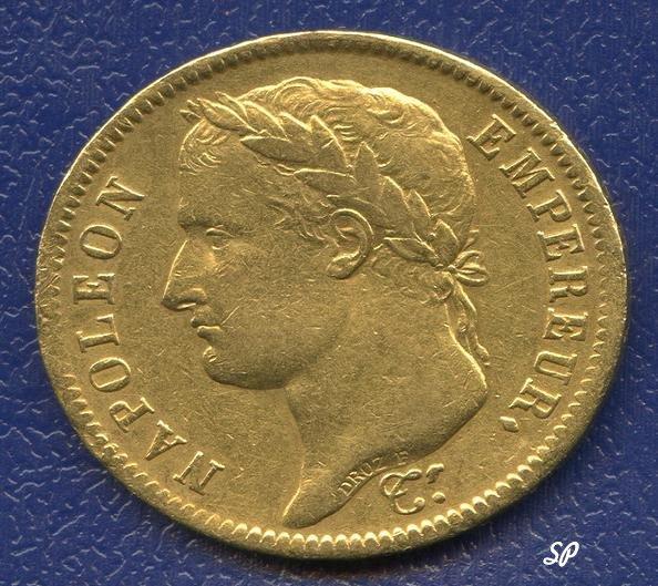 Золотая монета достоинством в 40 франков, с надписью наполеон и империал на французском и с портретом Наполеона в лавровом венке