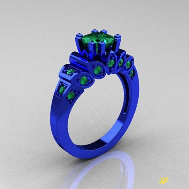 кольцо из синего золота