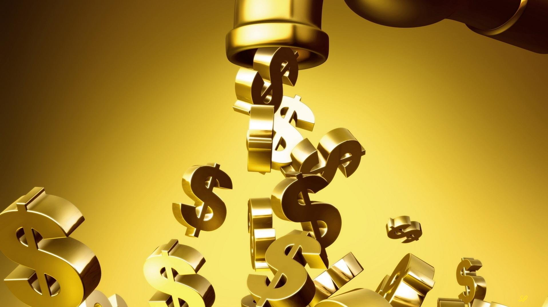 Золотые значки доллара, вытекающие из золотого крана на золотом фоне