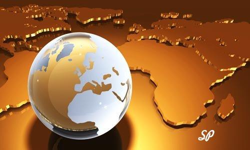 Глобус и золотая карта мира