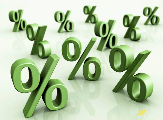 Зелёные значки процентов на белом фоне