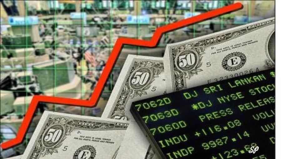График на фоне купюр долларов США