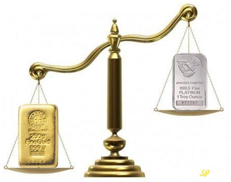 Весы со слитком золота и слитком серебра на чашах