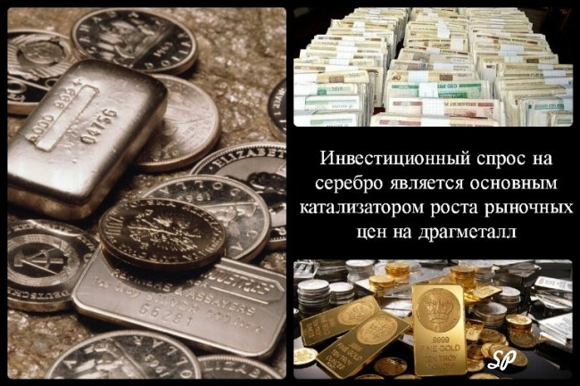 Коллаж об инвестиционном спросе на серебро