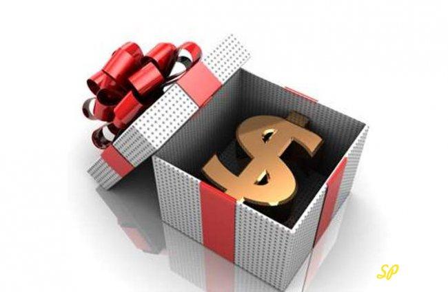 Значок доллара США в подарочной упаковке