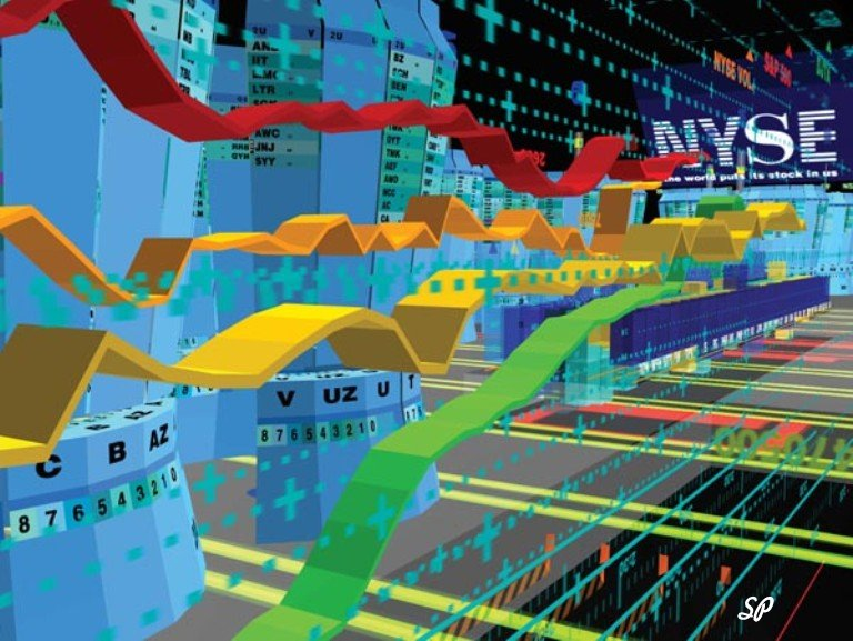 Динамичный объёмный разноцветный график