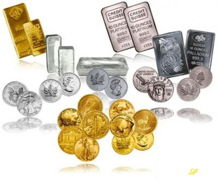 Слитки и монеты из золота, серебра, платины и палладия
