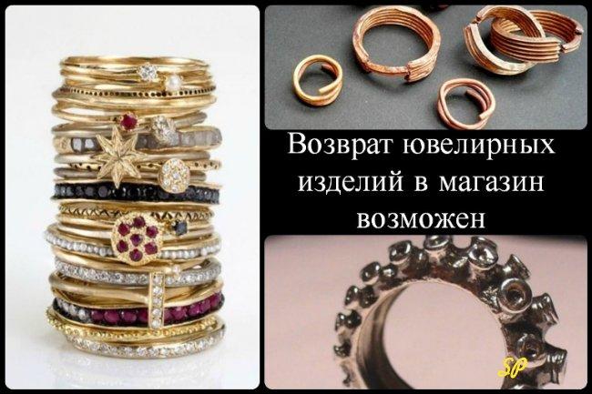 Коллаж о возможности возврата ювелирных изделий в магазин