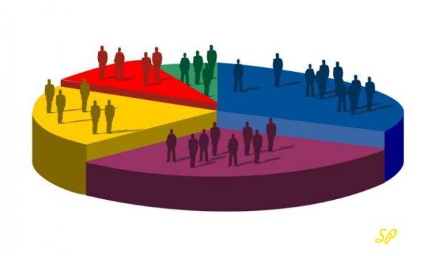 Круговая диаграмма с разноцветными секторами