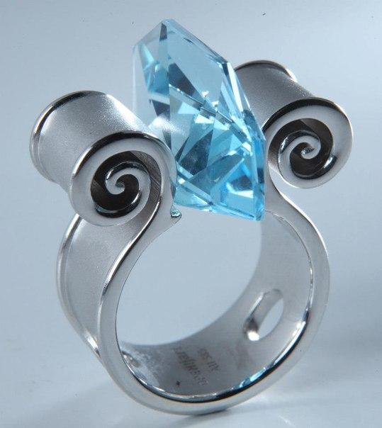 Серебряное кольцо с нежно-голубым камнем марки Open!Jart