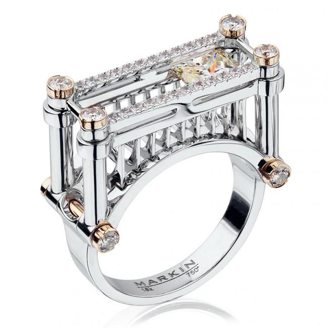 Модерное кольцо с бриллиантами марки Markin