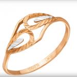Кольцо из красного золота стоимостью 3 411 рублей