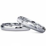 Пара обручальных колец из платины с бриллиантами, цена 39 801 руб