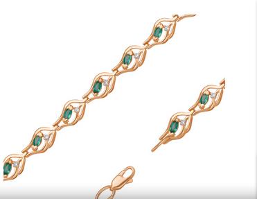 Золотой браслет, инкрустированный изумрудами и бриллиантами стоимостью 99 442 рубля